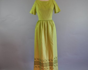 25% OFF 1970's Handmade Maxi Green Dress. Summer Spring Dress. Short Sleeves Dress. Lime Green Long Dress. Crochet Trim.