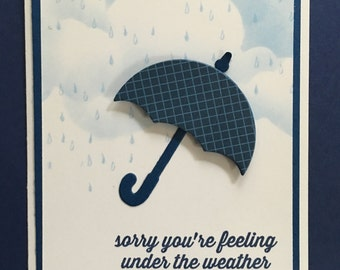 get well card,feel better soon card, sorry,get well card for man, women child,fun get well card,umbrella card,rain card,clouds,handmade card