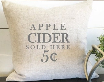 Apple Cider Pillow Cover, Fall Pillow, Autumn Pillow, 18 x 18 Pillow, Fall Decor, Autumn Decor, Gift, Housewarming gift, pillow cover
