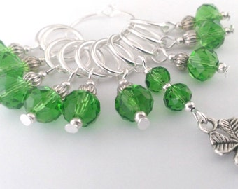 Luck of the Irish Stitch Markers - shamrock stitch markers - lucky four leaf clover crochet markers