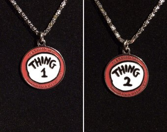Licensed Thing 1 & Thing 2 Sterling Silver Necklaces