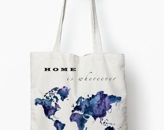 typography tote bag, travel bag, travel quote, canvas tote bag, art bag