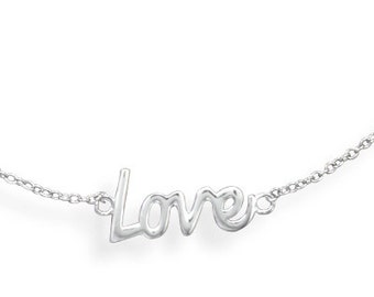Love Necklace, Cursive Love Necklace, Sterling Silver Love Necklace, Love Jewelry, Sterling Silver Love, Silver Love Necklace, Love Pendant