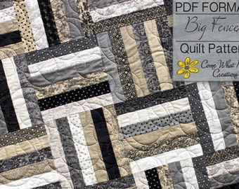Big Fences Pattern, Lap Quilt Pattern, Beginner Quilt Pattern, Baby Quilt Pattern, Jelly Roll Pattern, Basic Pattern, Strip Quilt Pattern