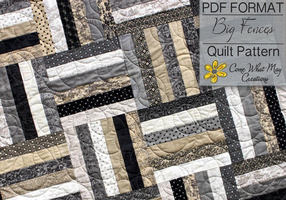 Big Fences Pattern Lap Quilt Pattern Beginner Quilt Pattern
