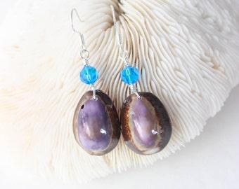 Cowry Shell Earrings - Seashell Earrings -  Purple Shell Earrings - Hawaiian Seashell Earrings - Beach Jewelry - Shell Jewelry