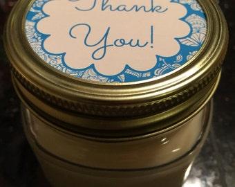 Set of 12 Thank You Candles, Handmade, 4oz, 8oz, 12oz, Mason Jar