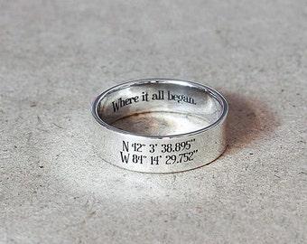 6 mm Sterling Silver Coordinates Ring - Custom Latitude Longitude Ring - Wedding Ring, Love Ring,  Custom Coordinate Jewelry, Stamped Ring