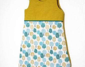 Sleeping bag 0-6 months-organic cotton - sleeping bag Bio Mael - blue floodlight - floodlight amber