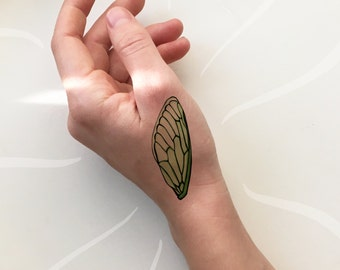 Cicada Wing Temporary Tattoo, Insect Wing Tattoo, Bug Tattoo, Earthy Tattoo, Spiritual Tattoo