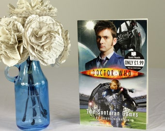 Dr Who Themed Handmade Paper Flower Bouquet Using A Second Hand Novel