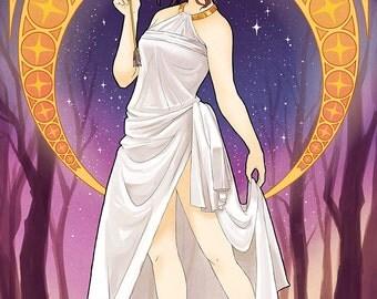 Artemis Greek Goddess | greek mythology, art nouveau poster, art nouveau print, mucha, mythology, anime print, anime poster, manga poster