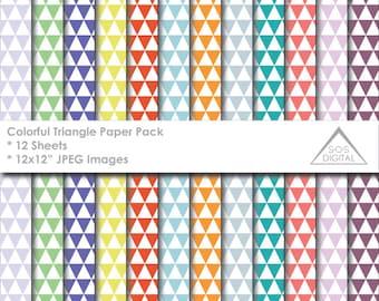 Geometric Paper, Triangle Paper, Multipack, Printable Paper, Digital Scrapbooking, Multicolored, Digital Background, 12x12 JPEG paper