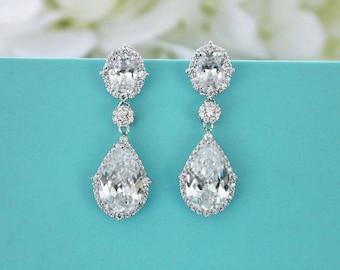 Wedding earrings, CZ wedding jewelry, Cubic zirconia earrings, Bridal drop earrings, Bridesmaid earrings, Swarovski crystal earrings 11367