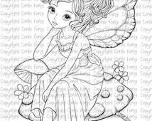 Digital Stamp, Digi Stamp, digistamp, Sitting Pretty on Mushroom by Conie Fong, Girl, Fairy, fantasy, mushroom, coloring page, scrapbooking