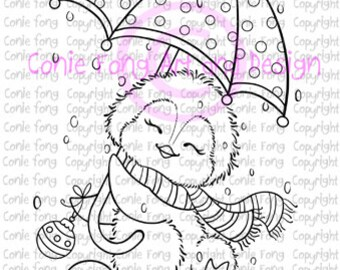 Digital Stamp, Digi Stamp, Digistamp, Dancing in the Snow by Conie Fong, Penguin, Christmas, coloring page