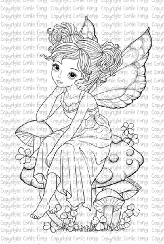 Digital Stamp, Digi Stamp, digistamp, Sitting Pretty on Mushroom by Conie Fong, Girl, Fairy, fantasy, mushroom, coloring page, scrapbooking