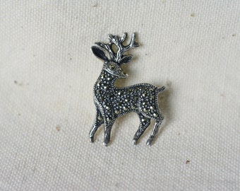 Stag sterling silver marcasite pin, brooch, pendant, hunting pin
