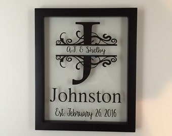 Personalized Picture Frame, Monogrammed Picture Frame, Name Sign, Name Plaque, Wedding Shower Gift, Personalized Gift, Wedding Gift