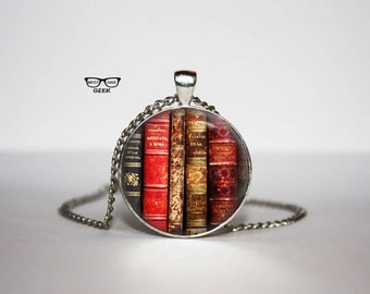 Antique book Necklace, Shabby Bookshelf pendant, book necklace, book jewelry, Art Gifts, for Her, for him