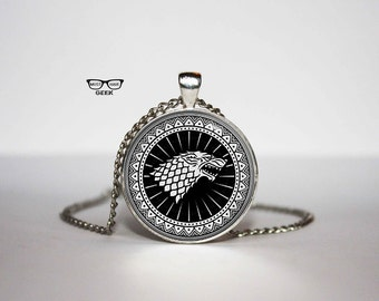 Game of Thrones Necklace, House Stark pendant, Stark  necklace, Fan Gifts, for Her, for him