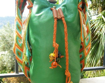 Green Leather Bucket Bag, Green Leather Shoulder Bag, Ethnic Leather Bag, Native American Bag, Green Leather Purse,