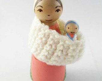 St. Ann Peg Doll// Catholic Saint Doll// Wooden Toy