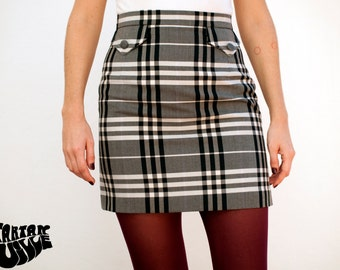 60s Skirt, 60's Skirt, Grey Plaid Skirt
