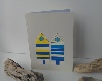 Blue and yellow beach hut card