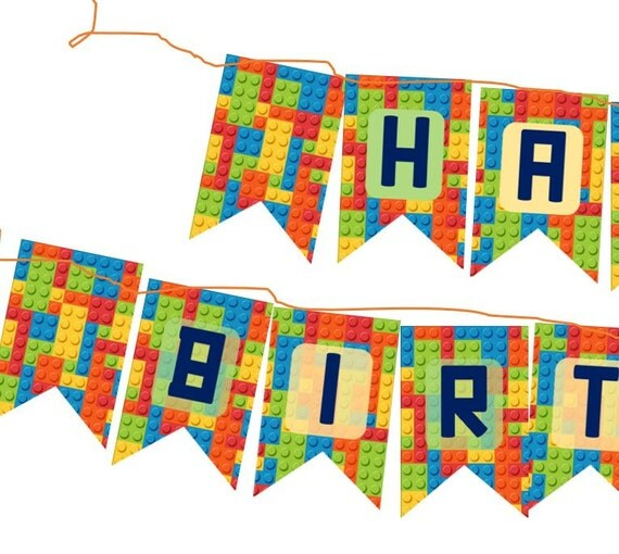 DIY HAPPY BIRTHDAY Lego Themed Banner Party Decoration