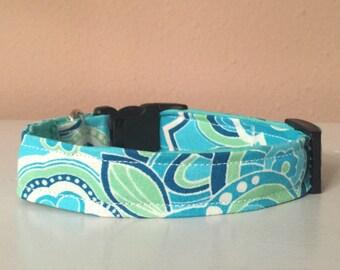 Blue & Green Girly Flower Dog / Pet Collar