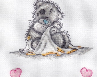 """Nursery Finished Cross Stitch Picture """"Teddy Bear Newborn"""". Completed Cross Stitch. Personalized Gift Hand Embroidery. Wall decor"""