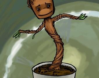 Dancing Baby Groot Poster Print