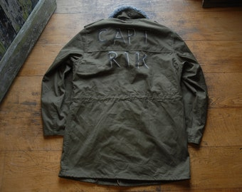 """Vintage Czech M85 Military Army Parka Coat Jacket with Hand Painted Name on Rear Large 44"""""""