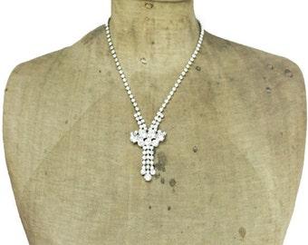 Rhinestone Necklace and Earrings, Rhinestone Tassel Necklace and Dangle Earrings, Long Rhinestone Necklace and Earrings