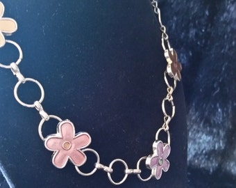 Retro Flower Power Enamel and silver Tone Fashion Necklace70's look