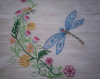 Dragonfly Flourish Embroidered Flour Sack Towel, Embroidered Dragonfly Towel, Dragonfly Towel, Embroidered Flour Sack Towel