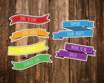 LGBT sticker set - LGBTQ pride flag - Gay Rights stickers - Equality Gay Sticker - Queer/Lesbian/Gay Gift - Yes Homo/Love Wins/Love is Love