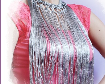 Silk Fringe Necklace Crochet fabric with vegetable silk for flamenco dance or dress
