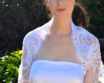 White bridal bolero, lace wedding bolero, party bolero, lace bolero