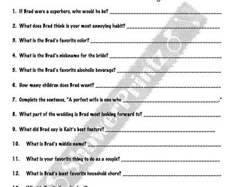 Bridal Shower Game | How well does the Bride know her Groom? - customizable