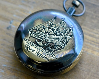 Compass Pendant, WORKING Compass, Glass Face Antique Brass, Hinged Lid, Casing Vintage Nautical Style Compass Charm Pendant (BA001)