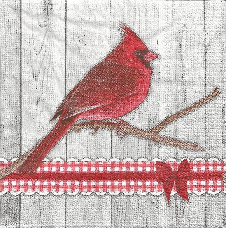 Cardinal Decoupage Paper Napkins Set Of 4 Red Bird