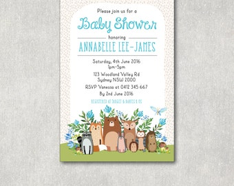 WOODLAND Baby shower Invitation. Floral Baby Shower Invite. Forest Baby Shower. Woodland Animals. Blue Watercolor Flowers. Baby Boy WOOD5