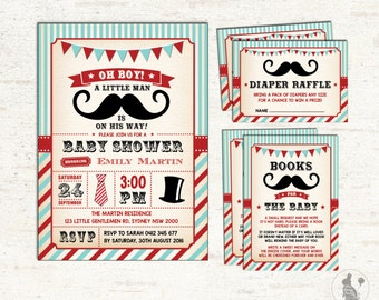 3-PIECE-SUITE. Mustache Baby Shower Invitation. Little Man Diaper Raffle. Books For Baby Insert Card. Vintage Boy Baby Shower Package. L-M1