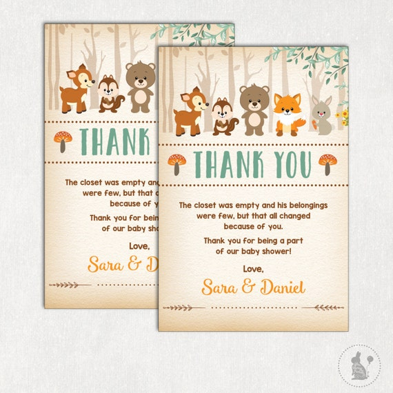 WOODLAND Thank You Card. Rustic Woodland Baby Shower