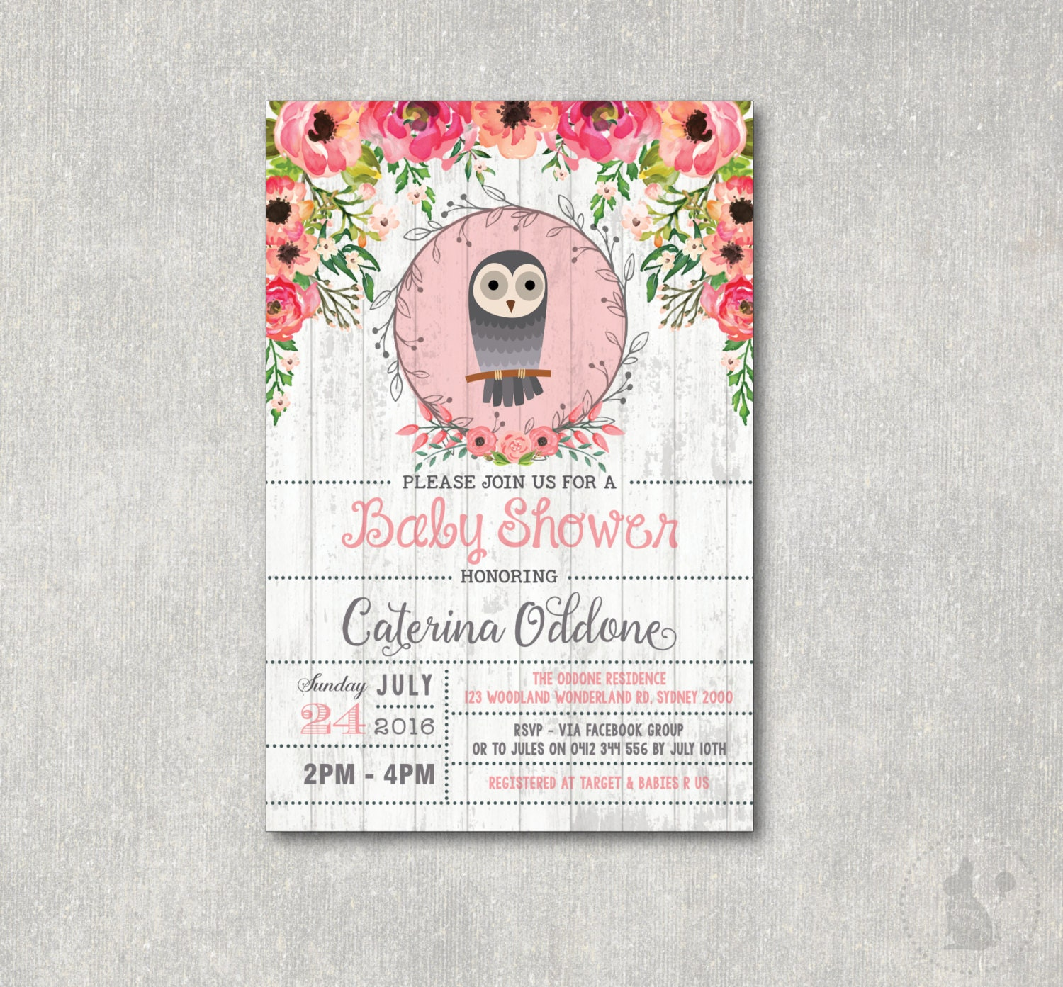 Vintage Owl Baby Shower Invitations: OWL Baby Shower Invitation. Vintage Flower Baby Shower DIGITAL