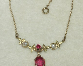 Edwardian Ruby and Seedpearl Lavaliere Necklace