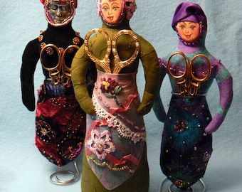 DJ06E  - Pincushion Sewing Pattern  - Lady Chatelaine PDF plus BONUS Kangaroo