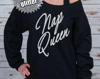 GLITTER Nap Queen Off Shoulder Raw Edge Sweatshirt for Women, Nap Queen Shirt, (562MR Black)